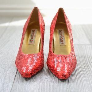 Vintage Stefani Ruby Red Sequin Pumps NWOB Sz 7